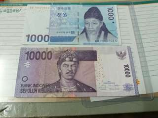 2pc Mixed Notes. Indonesia & S.Korea