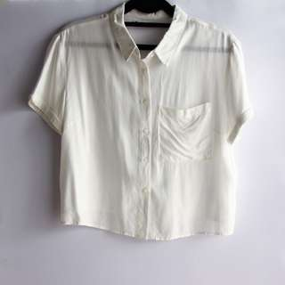 Pull & Bear Short Sleeved Button Down Cop Top