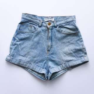American Apparel AA High Waist HW Denim Shorts 27