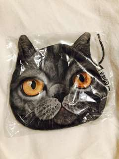 Cat face coins bag wallet small bag with zipper