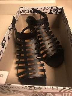 Black Wedge Slip Ons