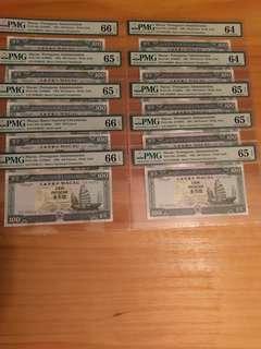 澳葡時代1992年澳門大西洋銀行評級幣1O張(PMG64-PMG66)DF00111.DF00222...DF01000豹子號