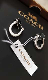 Coach Pave Signature Huggie Earrings