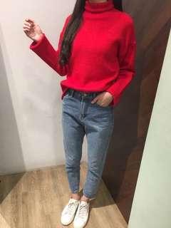 正韓 立領正紅針織毛衣