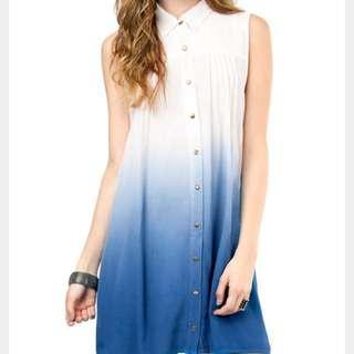 Minkpink White Blue Ombré Shirt Dress