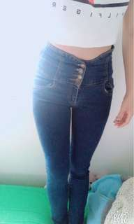 High rise jeans with design on the back