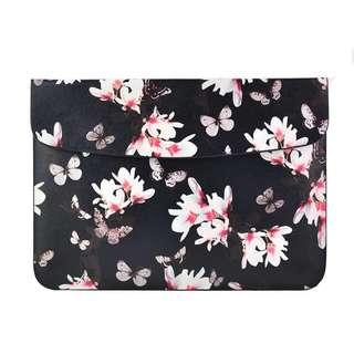 BN Preorder Black, Pink Flowers and Butterflies PU Leather MacBook Air / MacBook Pro Sleeve
