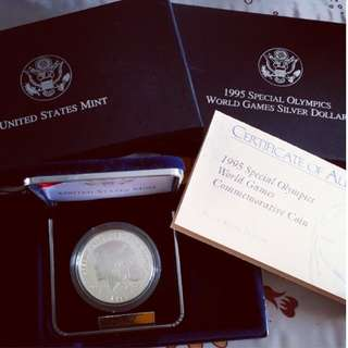 USA 1995 special Olympic world game silver coin
