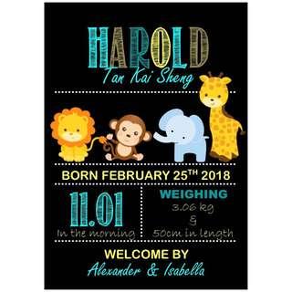 Baby Birth Announcement Printable