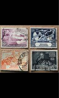 Singapore 1949 UPU stamp Set Used