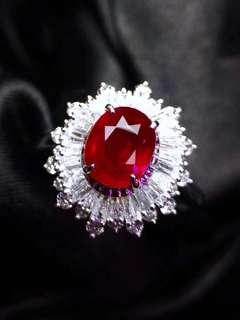 18K白金 無燒鴿血紅紅寶石 鑽石戒指