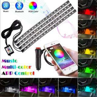 Car LED Strip Lights Auto Interior RGB Atmosphere lamp Bluetooth Controller Voice Music Control kit 12V car-styling