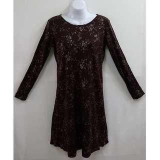 MISS IRIS低調奢華浪漫古典風滿版印花羊毛40%長袖洋裝全新含吊牌原價2580元專櫃品牌名媛風約會正式場合必備款式