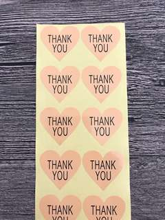 (Free Postage) 60 Thank You Stickers - Thank You Labels