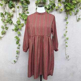 Hi neck rust dress