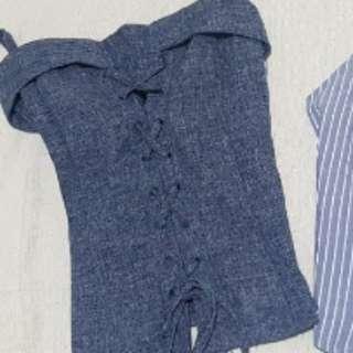New Denim blue corset cami / Sleeveless Backless Shirt blue Stripes