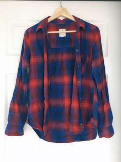 American Eagle Red Blue Checkered Shirt