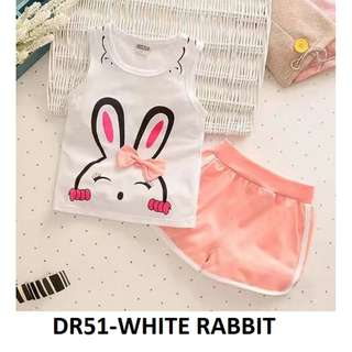 very good top and bottom set [clear stock] size S for 9-18 months baby newborn Rabbit In white Top Shirt Sleeveless Pants Baby Toddler Children Girl Kids