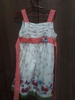 Girls Floral Dress Pink and White