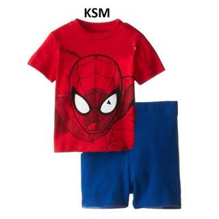 clearance item (1-3 yr old) spiderman set, short sleeve shirt and shorts 2 pcs set toddler children baby boys superhero