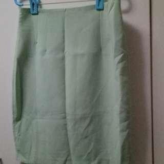 🚚 正韓 淺綠 窄裙 質感超好 全新沒穿過
