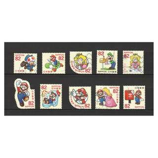 JAPAN 2017 GREETINGS SUPER MARIO COMP. SET OF 10 STAMPS IN FINE USED CONDITION