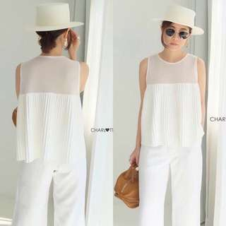 Irony Pleated Smash Top in White