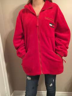Red Tommy fuzzy zip up