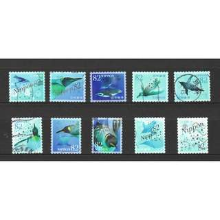 JAPAN 2017 SEA LIFE 1ST SERIES (PENGIUN) 82 YEN COMP. SET OF 10 STAMPS IN FINE USED CONDITION