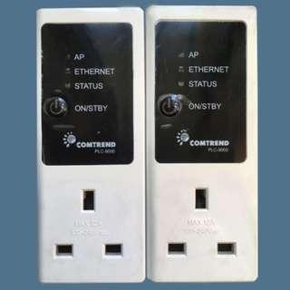 Power line x 2 white home plug