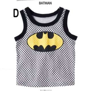 brand new batman singlet sleeveless cotton material top for baby toddler children kids
