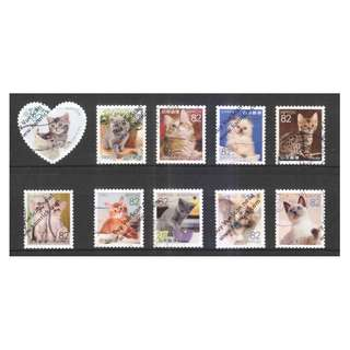 JAPAN 2016 FAMILIAR ANIMALS SERIES 2 (CATS & KITTENS) 82 YEN COMP. SET OF 10 STAMPS IN FINE USED CONDITION