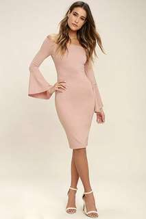 Minimalist Trumpet Sleeve Bodycon Dress 097087 FM