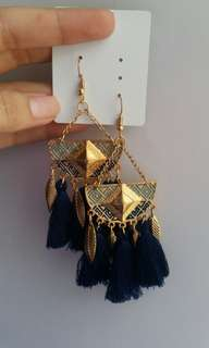 BOHEMIAN EARRINGS with dark blue tassels