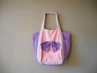 Pinks dn purple bowtie tote bag