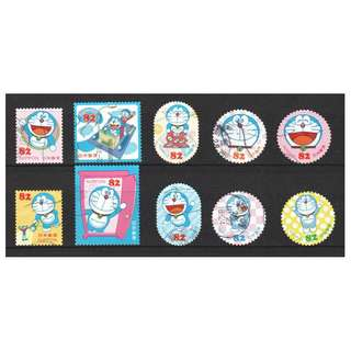 JAPAN 2016 DORAEMON GREETING 82 YEN COMP. SET OF 10 STAMPS IN FINE USED CONDITION