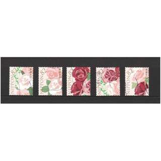 JAPAN 2016 GREETINGS FLOWERS IN DAILY LIFE (FLOWER ARRANGEMENT ROSE) 82 YEN COMP. SET OF 5 STAMPS IN FINE USED CONDITION