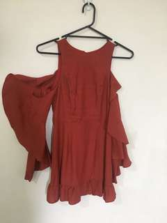 BNWT Rust Mini with cutout back and sleeves