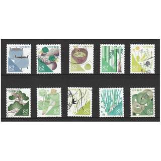 JAPAN 2016 GREETINGS TRADITIONAL COLOUR 82 YEN COMP. SET OF 10 STAMPS IN FINE USED CONDITION
