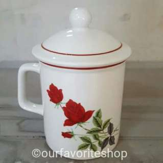 Sale - Old 3 Rose Mug with Cover Lid
