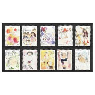 JAPAN 2016 NOSTALGIA OF PICTURES FOR CHILDREN SERIES NO. 2 COMP. SET OF 10 STAMPS IN FINE USED CONDITION