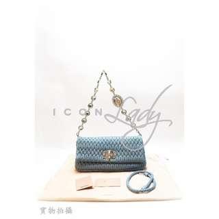 🎉貨主減價  👏🏻  👏🏻 MIU MIU RP0233 Nappa Crystal 淺藍色(Astrale)細皺褶小羊皮 肩背袋 手提包 手袋  HK$4,380 減至--> HK$3,080