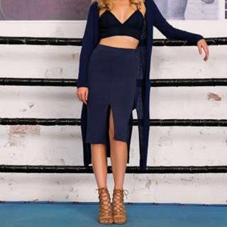 Bardot Navy Scuba Split Midi Skirt