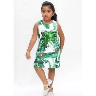 Jungle themed sequin dress