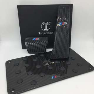 BMW F10, X3, X5,X6 Carbon Fibre ///M No Drill anti-slip Pedals Set c/w CF Floor Mat ASP pad