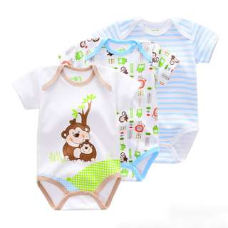 3-piece Cool Animal&Stripe Printed Baby Romper Suit