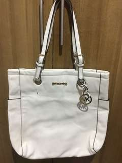 REPRICED: Michael Kors White Tote Leather Bag