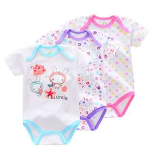 3-piece Cool Animal&Floral Printed Baby Romper Suit