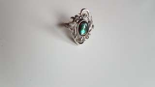 new! sterling silver abalone ring size 5