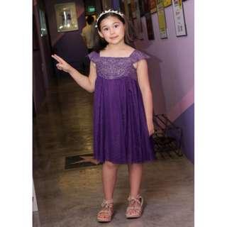 Chiffon crochet and glittery tulle dress